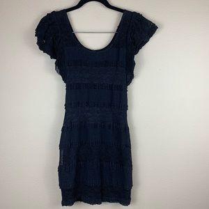 • Material Girl • Crepe & Lace Shirred Mini Dress